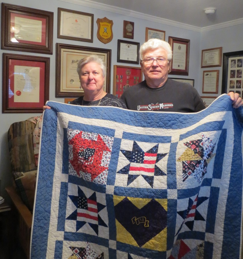 A Quilt of Valor recipient and his wife. Thank you both for your inspiration.