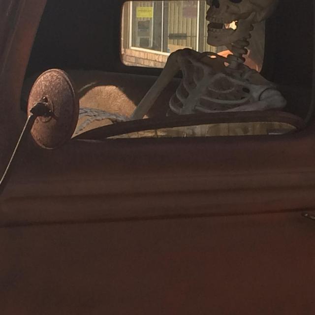 skeleton in truck