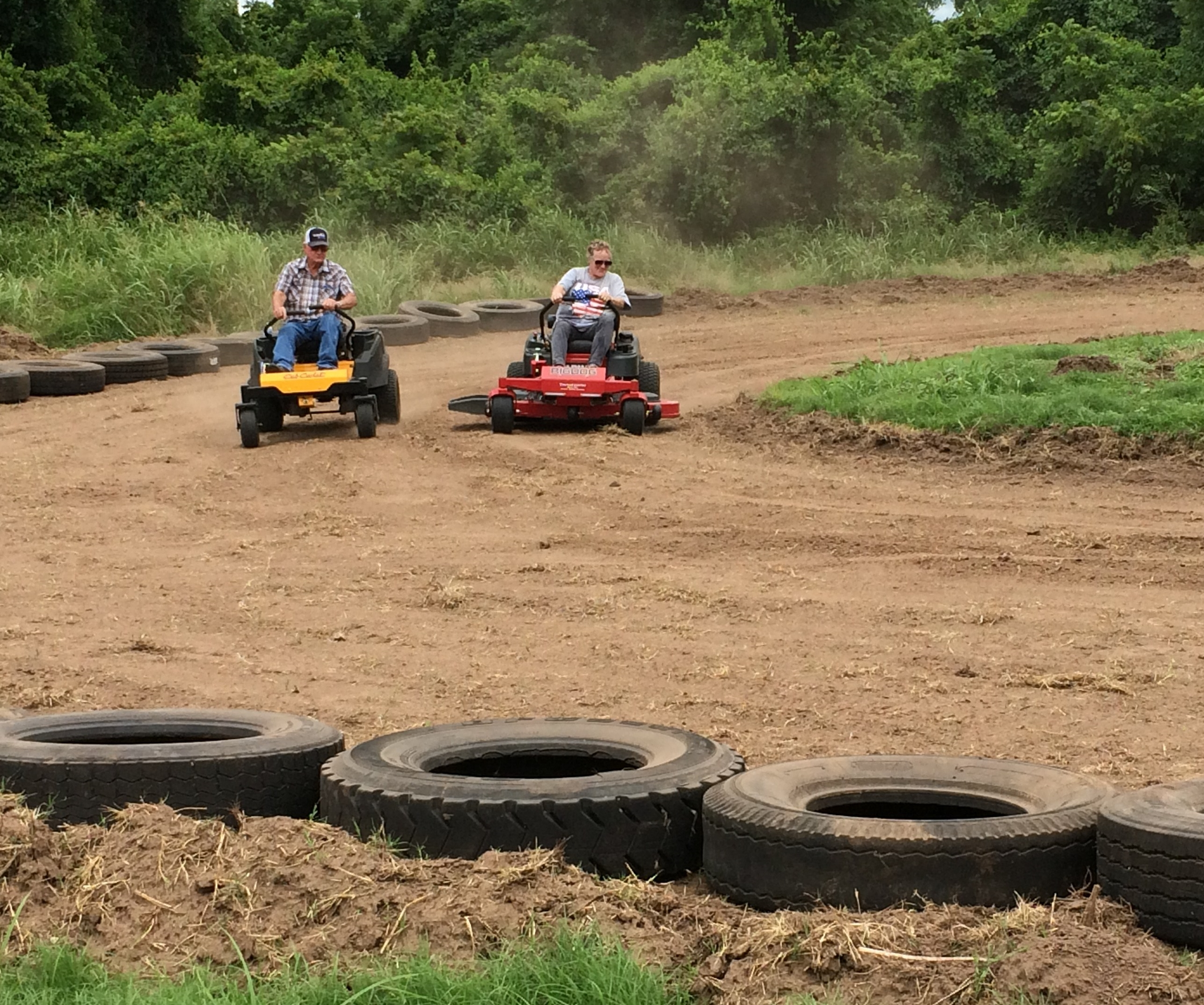 lawnmower race-coming around the corner