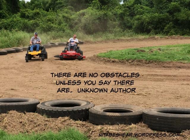 Lawnmower race-coming around the corner